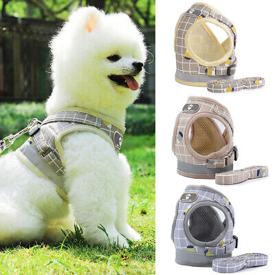 Pet Puppy Harness Breathable Mesh  Leash Set Vest Chest Strap For Small Dog