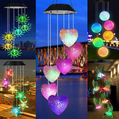 Solar LED Garden Wind Chimes Outdoor Color Changing Xmas Lights Tree Hanging UK