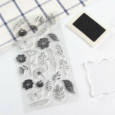 Flower Butterfly Plant Transparent  Silicone Rubbers Stamp  Scrapbooking Cards