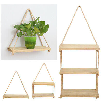 Hanging Wall Shelf Holder Wood Shelves Rope Floating Palant Flower Stand Storage