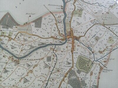 Antique Map, Maidstone, Kent, hand coloured, 200 years old, framed