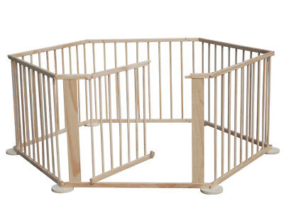 Fold Wood Baby Playpen Kids 6 Panel Safety Activity Play Center Yard Home Indoor