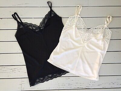 Two Vintage Camisoles Lingerie Size 10 & 12 1980's Made In Australia