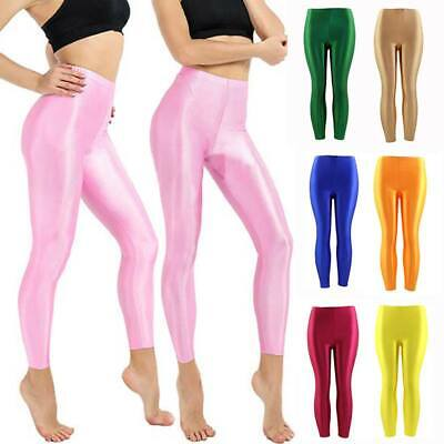 New Women Shiny Glossy Stretchy High Waisted Stretchy Disco Pants Leggings Dance