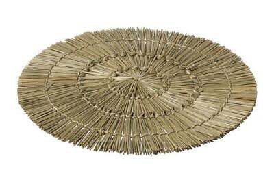 Set of 4 Boho Natural Weave Round Woven Rattan Straw Placemats Drinks Mat Dining