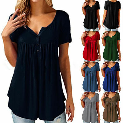 Plus Size Womens V Neck Short Sleeve Blouse Casual Loose T-shirt Tops Summer Tee