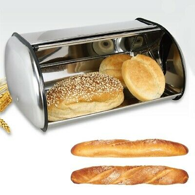 1Pc Large Stainless Steel Bread Box Storage Bin Keeper Food Kitchen Contain Y5C7