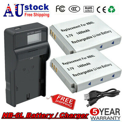 2X NB-6L NB-6LH Battery / Charger For Canon PowerShot D10 D20 S90 S95 Camera FP