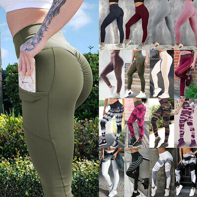Womens Fitness Yoga Leggings Running Gym Sport High Waist Jogging Pants Trousers