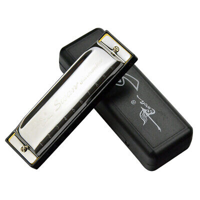 Swan Harmonica 10 Holes Key of C SILVER w/ Case Blues Harp Stainless Steel  A4A3