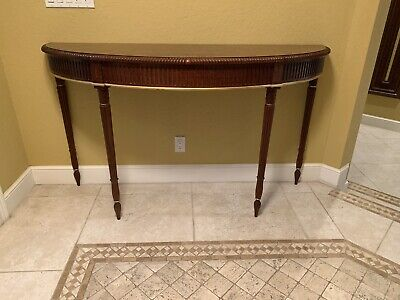 John Widdicomb Neoclassical Console Table with Inlaid Mahogany and Walnut