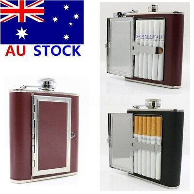 AU Portable Flagon Cigarette Case Stainless Steel Wine Pot Hip Flask Box 5oz NEW