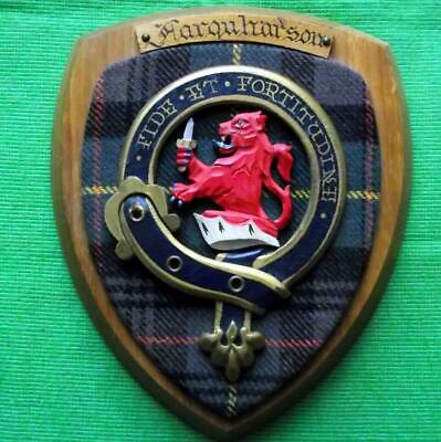 Vintage Old Scottish Carved Clan FARQUHARSON Tartan Plaque Crest Shield x