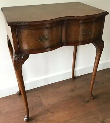 Queen Anne Style Small Serpentine Table With Walnut Veneered Top & Two Drawers