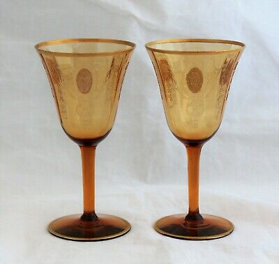 Set 2 Tiffin Glass Charmain Amber Gold Decorations 14196 Wine Clarets 5 1/8""