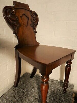 Antique Victorian c1890 Beautiful Carved Mahogany Hall Chair