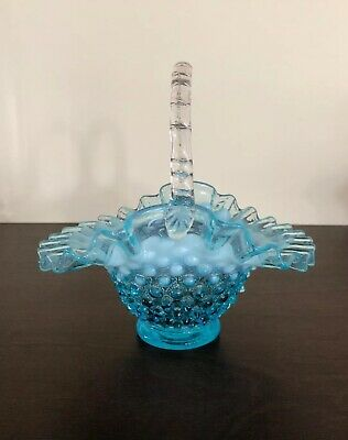 Fenton Blue Opalescent Hobnail Handled Basket