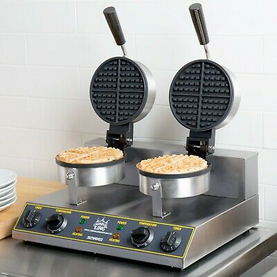 Double Non-Stick Cast Iron Electric Waffle Maker with Timers - 120V