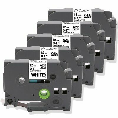 5Pack Compatible Brother Ptouch TZe-231 Laminated Label Tape Black on White 12mm