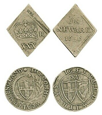 ENGLISH CIVIL WAR Novelty Souvenir Coin 2 X CHARLES I AND COMMONWEALTH SHILLING