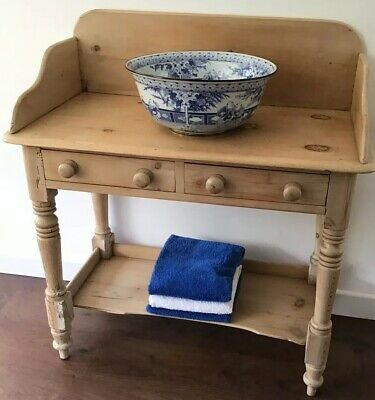 Antique, Victorian, Stripped Pine Washstand, With 2 Front Drawers & Lower Shelf