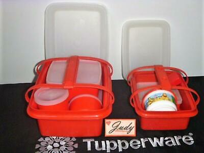 Tupperware Red LARGE + SMALL Lunch Box+Handles+Cup+Sandwich+Tumbler+Square Round