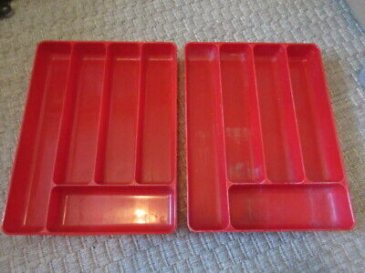 2 Vintage Mid Century Stacking Lustro Ware Silverware Trays in RED