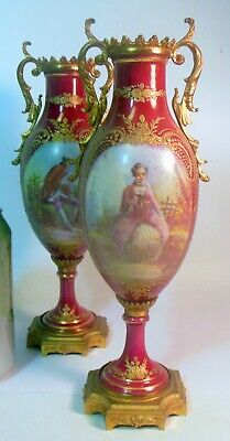 Antique PAIR FRANCE SEVRES URNS Hand Ptd Artist Signed GILLES Ormolu Rococo
