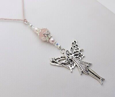 Pink Rose Quartz Swarovski Crystal Bead Fairy Car Rearview Mirror Ornament Charm
