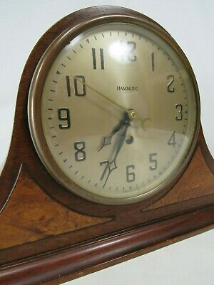 Vintage Hammond Electric Tambour Mantle Clock 1930's WALNUT INLAY