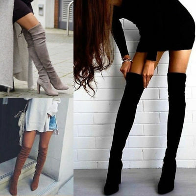 Womens Thigh High Over The Knee Long Boots Stretchy Block Party Mid Heel Shoes