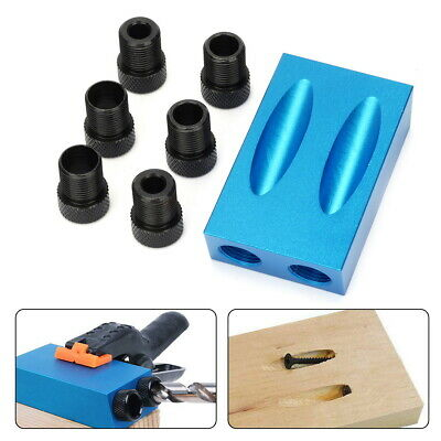 7PCS Pocket Hole Jig Kit Bit 15° Angle 6 8 10mm Adapter Guide Woodworking Tool