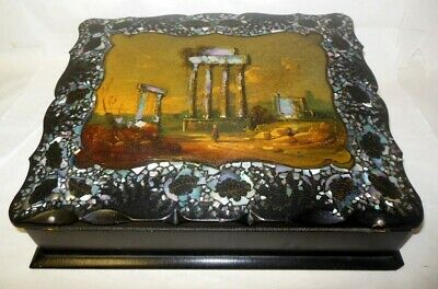 Antique Papier Mache Writing Box Lap Desk Mother of Pearl Greek Acropolis