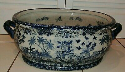 Vtg Chinese Porcelain Oval Foot Bath Koi Fish Bowl Planter Decorative Pot Signed