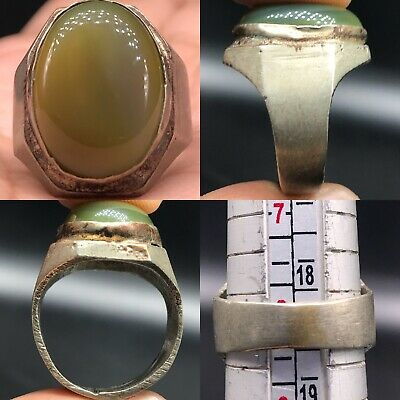Very Old Unique Jade Stone Wonderful old Silver mixed Ring