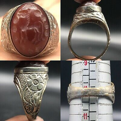 Antique Carnelian old intaglio Stone Silver Lovely Ring