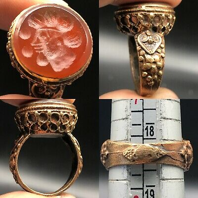 Lovely Ring With Ancient Agate King face. intaglio stone Ring