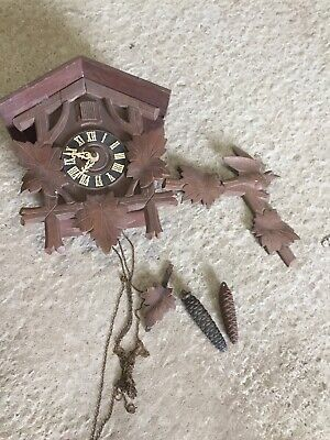 Vintage Decorative Old Wooden Cuckoo Clock For Restoration Black Forest 31/7/F