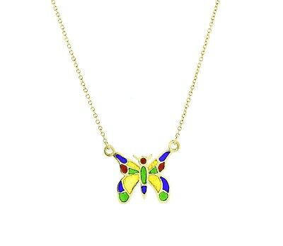 """14K Yellow Gold Butterfly Pendant Necklace Multi Color Enamel Ladies 16.5"""" Chain"""
