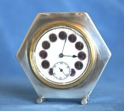 Antique Deco English Sterling Silver PURPLE Guilloche Enamel Swiss Clock Frame