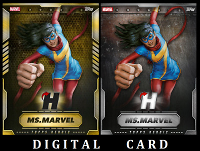 Topps Marvel Collect Card Trader August Vip Heroic Ms Marvel Gold & Silver