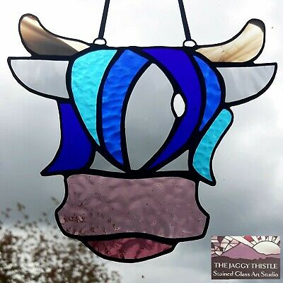 Handmade Original Stained Glass ~ Keek The Highland Cow ~ Handmade in Scotland