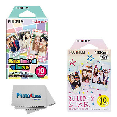Fujifilm Instax Mini Film Stained Glass (10 Sheets) + Shiny Stars (10 Sheets)