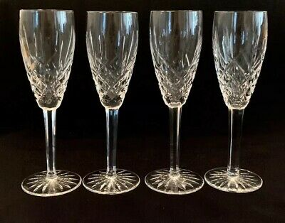 "WATERFORD Crystal ARAGLIN Set Of 4 CHAMPAGNE FLUTES Glasses 8 1/2"" PERFECT !"