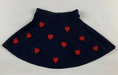 H&M Girls A-line Knit Skirt 8 10Y Navy Blue Red Hearts Stretch Elastic Waist New