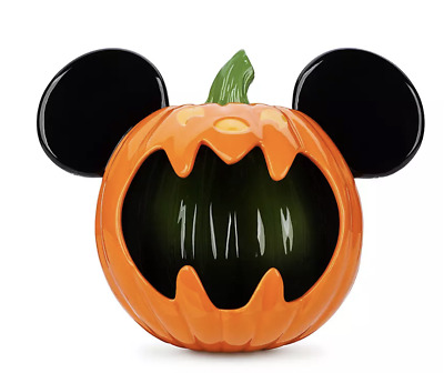 Disney Parks Happy Halloween Trick or Treat Mickey Mouse Pumpkin Candy Bowl New