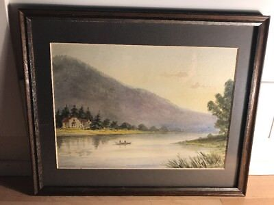 Charming Early 20th Century Watercolour Painting Of Lake Scene In Wood Frame