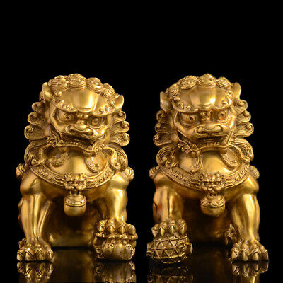 A Pair Feng Shui Chinese Bronze Lion Statue Copper Evil Guardian Door Fu Foo Dog