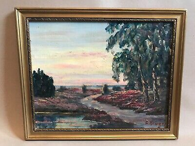 Early 20th Century Signed Oil Painting On Board Of Landscape In Gold Frame