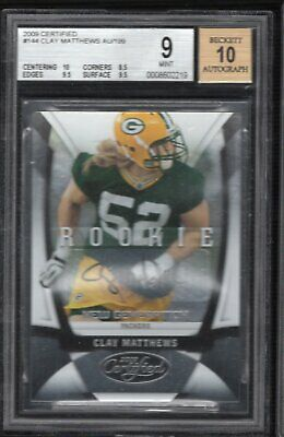 Clay Matthews 2009 Certified Rc Rookie Auto 168/199 Bgs 9 Mint Packers Rams Usc